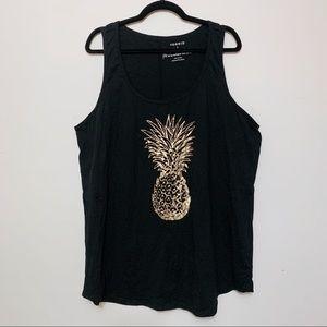 Torrid Black Tank w/ Gold Foil Pineapple